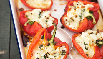 Stuffed Red Peppers with Quinoa, Zucchini, and Feta Cheese
